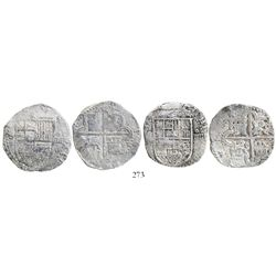 Lot of 2 Seville, Spain, cob 4 reales, Philip II, assayer Gothic D at 4 o'clock outside tressure aro