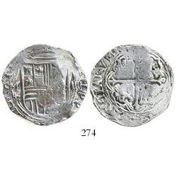 Mexico City, Mexico, cob 4 reales, Philip II, assayer F below mintmark oM to left, denomination IIII