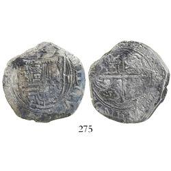 Mexico City, Mexico, cob 4 reales, Philip II, assayer F, below mintmark oM to left, denomination III