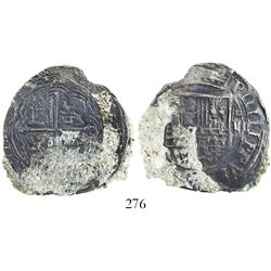 Mexico City, Mexico, cob 4 reales, Philip II, assayer not visible (O or F), king's name as PIIILIPPV