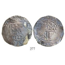 Mexico City, Mexico, cob 4 reales, Philip II, assayer not visible (O or F), legend with king's ordin