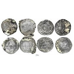 """Lot of 4 Mexico City, Mexico, 4 reales, Charles-Joanna, """"Late Series,"""" assayers L and O, all with co"""