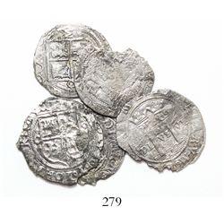 "Lot of 4 Mexico City, Mexico, 1R, Charles-Joanna, ""Late Series,"" assayers L and O, rare denomination"