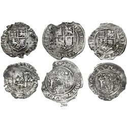 Lot of 3 Lima, Peru, early-pillars-type 4R (1) and 2R (2), Philip II, assayer Rincon.