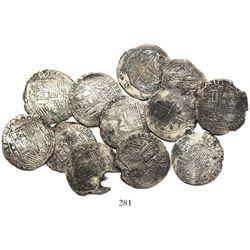 Lot of 12 Lima, Peru, cob 8 reales, Philip II, assayer Diego de la Torre, various varieties.