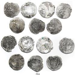 Lot of 7 Lima, Peru, cob 4 reales, Philip II, assayer Diego de la Torre, various varieties.