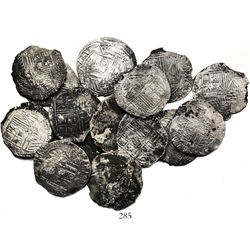 Lot of 15 Potosi, Bolivia, cob 8 reales, Philip II, assayers B (various periods) and A.