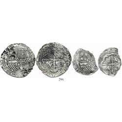 Lot of 2 Potosi, Bolivia, cob 8 and 4 reales, Philip II, assayer C under erasure, very rare.