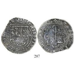 Potosi, Bolivia, cob 4 reales, Philip II, assayer R to left (Rincon).