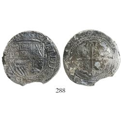 Potosi, Bolivia, cob 4 reales, Philip II, assayer M to left, rare.