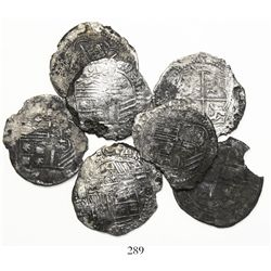 Lot of 7 Potosi, Bolivia, cob 4 reales, Philip II, assayers L, B (various periods) and A.