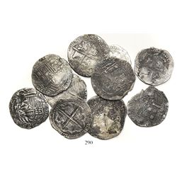 Lot of 10 Potosi, Bolivia, cob 4 reales, Philip II, assayer B (various periods).