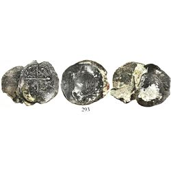 Lot of 3 two-coin clumps of Spanish colonial cob 4 reales (Mexico, Lima and Potosi), all coral-encru