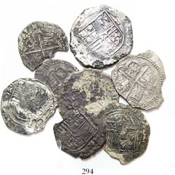 Lot of 8 Spanish / Spanish colonial cob minors (Mexico, Lima, Potosi and Spain), various assayers, s