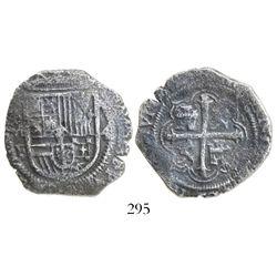 Mexico City, Mexico, cob 4 reales, Philip III, assayer F below mintmark oM to left, denomination 4 t