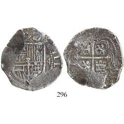 Mexico City, Mexico, cob 4 reales, Philip III, assayer not visible (F below mintmark oM to left), de