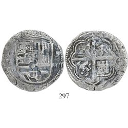 Granada, Spain, cob 4 reales, Philip II, assayer oF to right, single vertical bar for Aragon in shie