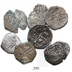 Lot of 7 cob 2 reales of Mexico and Spain, Philip II and III.