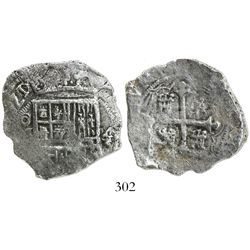 Mexico City, Mexico, cob 4 reales, (1)621/0(D), Grade 3, rare.