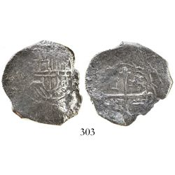 Mexico City, Mexico, cob 4 reales, Philip III, assayer not visible, Grade 1.