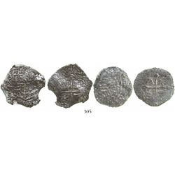 Lot of 2 Mexico City, Mexico, cob 4 reales, Philip III, assayers not visible, Grades 3 and 4.