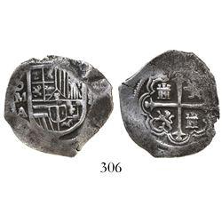 Mexico City, Mexico, cob 2 reales, Philip III, assayer A/F, Grade 1, pedigreed to the Atocha Researc