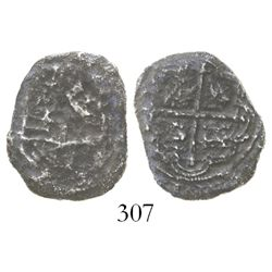 Mexico City, Mexico, cob 2 reales, Philip II or III, assayer not visible, fragment (2 points), hand-