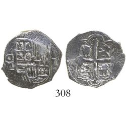 Mexico City, Mexico, cob 1 real, Philip III, assayer not visible, Grade 1, rare denomination from th