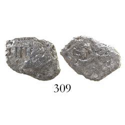 Mexico City, Mexico, cob 1 real, Philip III, assayer not visible, Grade 3, rare denomination for thi
