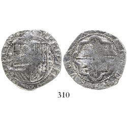 Lima, Peru, cob 2 reales, Philip II, assayer Diego de la Torre, P-ii to left, oD-* to right, Grade 1