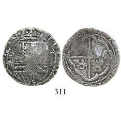 Lima, Peru, cob 2 reales, Philip II, assayer Diego de la Torre, *-ii to left, P-oD to right, Grade 2
