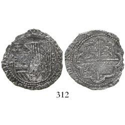 Lima, Peru, cob 2 reales, Philip II, assayer Diego de la Torre, P-ii to left, oD-* to right, Grade 3