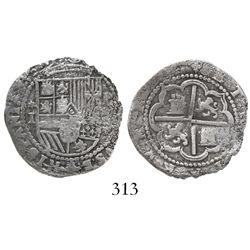 Lima, Peru, cob 1 real, Philip II, assayer Diego de la Torre, *-I to left, P-(oD) to right, pedigree