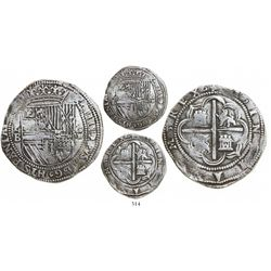"""Potosí, Bolivia, cob 8 reales, Philip II, P-B """"Great Module"""" (1st or 2nd period), pedigreed to the A"""