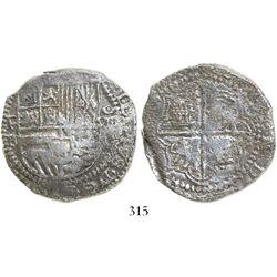 Potosi, Bolivia, cob 8 reales, Philip II, assayer B (3rd period), Grade 2.