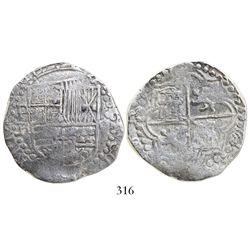 Potosi, Bolivia, cob 8 reales, Philip III, assayer R (curved-leg), Grade-1 quality (but no Grade on