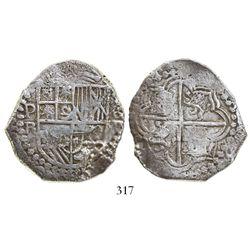 Potosi, Bolivia, cob 8 reales, Philip III, assayer R (curved-leg), Grade-1 quality with original tag