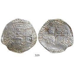 Potosi, Bolivia, cob 8 reales, 1617(M), Grade 1.