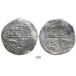 Potosí, Bolivia, cob 8 reales, Philip III, assayer M, Grade 1.