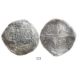 Potosi, Bolivia, cob 8 reales, Philip III, assayer M, Grade 2, with tag but no certificate.