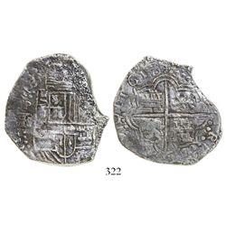 Potosí, Bolivia, cob 8 reales, 1618T/PAL, rare, Grade 2.