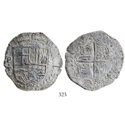 Potosí, Bolivia, cob 8 reales, (161)9T, unique error lacking lions and castles in shield, Grade 1, o
