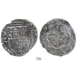 Potosi, Bolivia, cob 8 reales, 1621T, quadrants of cross transposed, Grade 1.