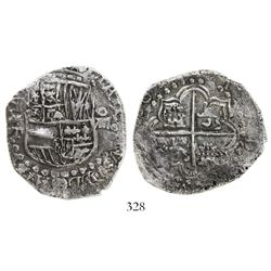 Potosí, Bolivia, cob 8 reales, (16)2(?)T, backwards mintmark, Grade 1.