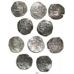 Lot of 5 Potosi, Bolivia, cob 8 reales, Philip III, various assayers (where visible), all Grade 1.