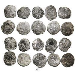 Lot of 10 Potosi, Bolivia, cob 8 reales, Philip III, assayers not visible, all Grade 3.