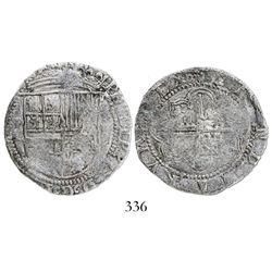 Potosi, Bolivia, cob 4 reales, Philip II, assayer L, rare, Grade-1 quality but Grade 2 on certificat
