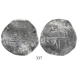 Potosi, Bolivia, cob 4 reales, Philip II, assayer B (3rd period), Grade 1.