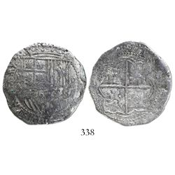 Potosi, Bolivia, cob 4 reales, Philip II, assayer A, Grade-1 quality but Grade 2 on certificate.
