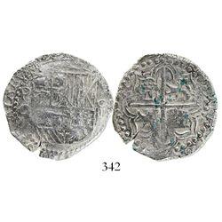 Potosi, Bolivia, cob 4 reales, Philip III, assayer Q, Grade 1.